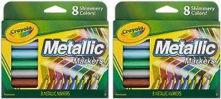 Crayola 642337910395 2 Pack Metallic Markers, 8 Count