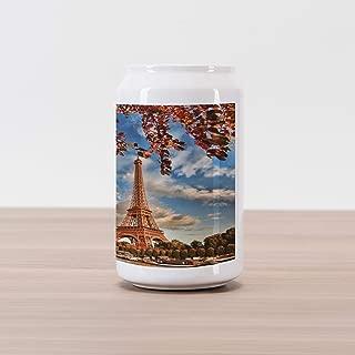 Ambesonne Eiffel Tower Cola Can Shape Piggy Bank, Eiffel Tower Boat Seine Cloudscape Vacation Tourist Destination, Ceramic Cola Shaped Coin Box Money Bank for Cash Saving, Cinnamon Blue Dark Orange