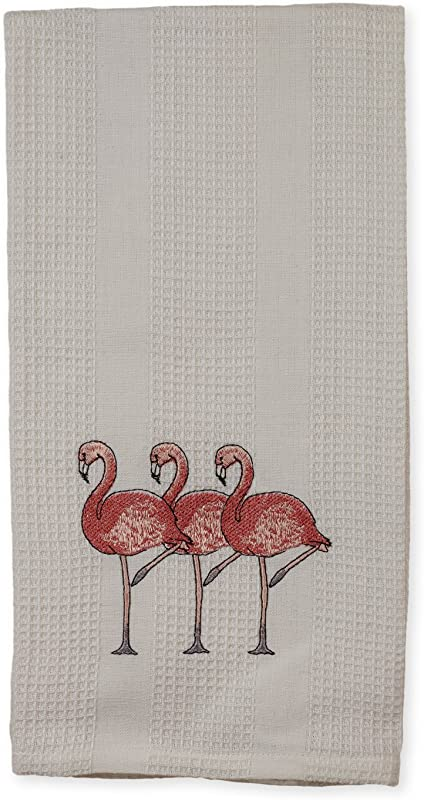 White Pink Flamingo Trio Friends 19 X 28 Inch Embroidered Cotton Waffle Dish Towel