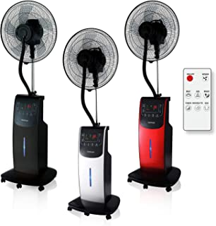 VENTILADOR Digital Dardaruga WFD NEBULIZADOR (tanque XXL de 3.10 litros) Ionizador, Antimosquitos y Repelente de Insectos, Compartimento AROMA, Temporizador, Control Remoto, Oscilación, Ruedas (NEGRO)