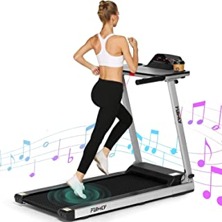 FUNMILY Treadmill, 2.25HP Treadmills for Home with Table & Bluetooth Speaker & Large LCD Monitor, Zero Installation Electric Walking Jogging Machine for Home/Office Use