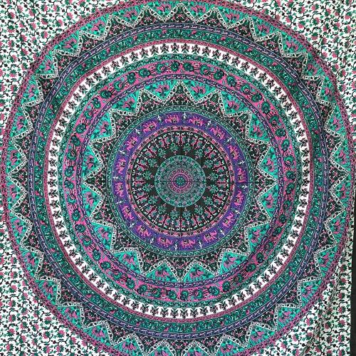 momomus Tapiz de Mandala para Pared - Ideal como Pareo, Colcha, Mantel, Alfombra de Picnic, Manta/Toalla de Playa Grande - Versátil, 100% Algodón y Tintes Vegetales (Lila B, 210x230 cm)