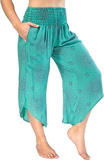 PIYOGA Women's Yoga Flare Capris, Boutique Boho with Elastic Waistband (One Size fits US W Size 0-10)