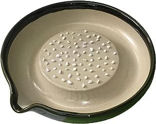 元重製陶所 石見焼 大根おろし皿 大 (直径18cm・すべり止め付) 織部