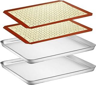 Yododo Lot de 4 plaques de cuisson avec tapis en silicone (2 feuilles + 2 tapis), plaques à biscuits en acier inoxydable a...