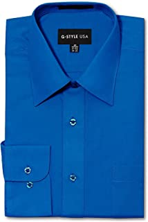 G-Style USA Men's Regular Fit Long Sleeve Solid Color Dress Shirts - Royal Blue - X-Large - 32-33