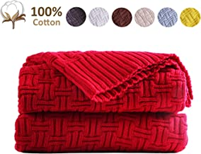 JSHANMEI Knitted Throw Blanket Lightweight Cotton Cable Blankets Super Soft Warm for Couch Sofa Chair Bed Picnic Camping Beach Indoor Outdoor Home Decorative Knitted Blanket Red