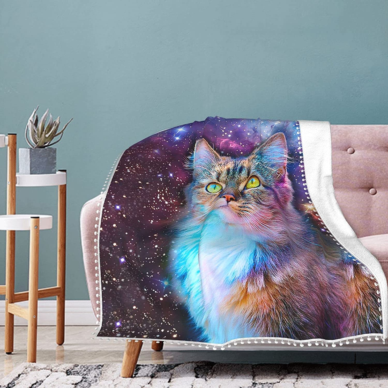Beautiful Cat Starry Sky Fleece Blanket Summ 67% OFF of fixed price Pompom with Super beauty product restock quality top! Fringe