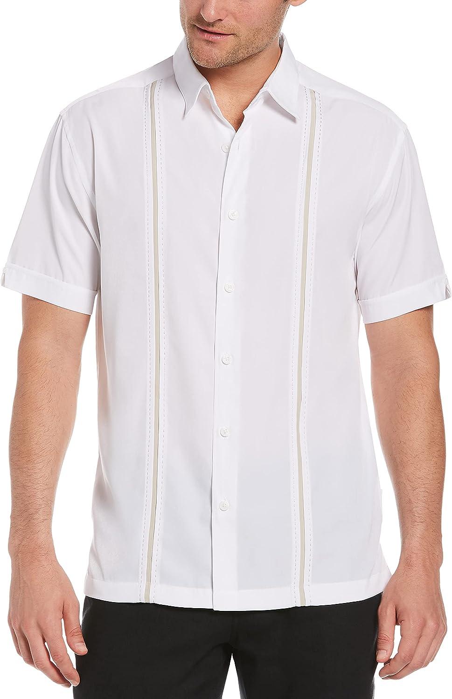 Cubavera Men's Standard Short Sleeve Insert Panels with Pick Stitch Shirt