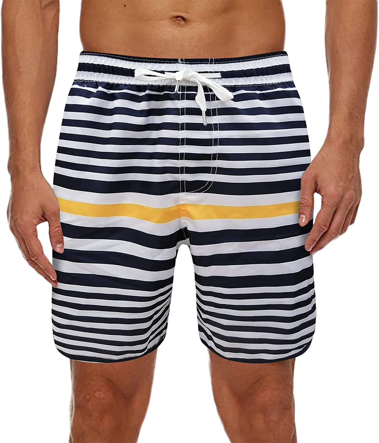 FUNEY Mens Swim Trunks Summer Fitness Sports Surfing Quick-Drying Beach Shorts Funny Swimwear Bathing Suits with Pockets