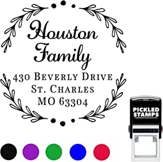 15 Designs to Choose!!! Address Stamp Round Customized Self Inking Return Address Mail Stamper Professional Business Circle Large Personalized Stamp