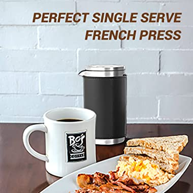 FOSKU French Press Coffee Maker Set, 12oz Stainless Steel Camping Coffee Press and Coffee Canister with Travel Tote Bag, Sing