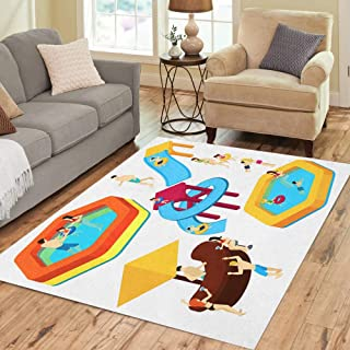 Semtomn Area Rug 3' X 5' Water Amusement Park Playground Slides and Splash Pads Home Decor Collection Floor Rugs Carpet for Living Room Bedroom Dining Room