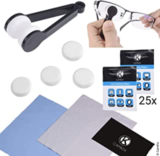 CamKix Cleaning Kit for Eyeglasses/Sunglasses - Lens Cleaning Tool with 2 Sets of Spare Pads, 25 Individually Wrapped Wet Tissues, 3 Microfiber Cloths - Quick, Safe and Easy to Use - Immaculate Resul
