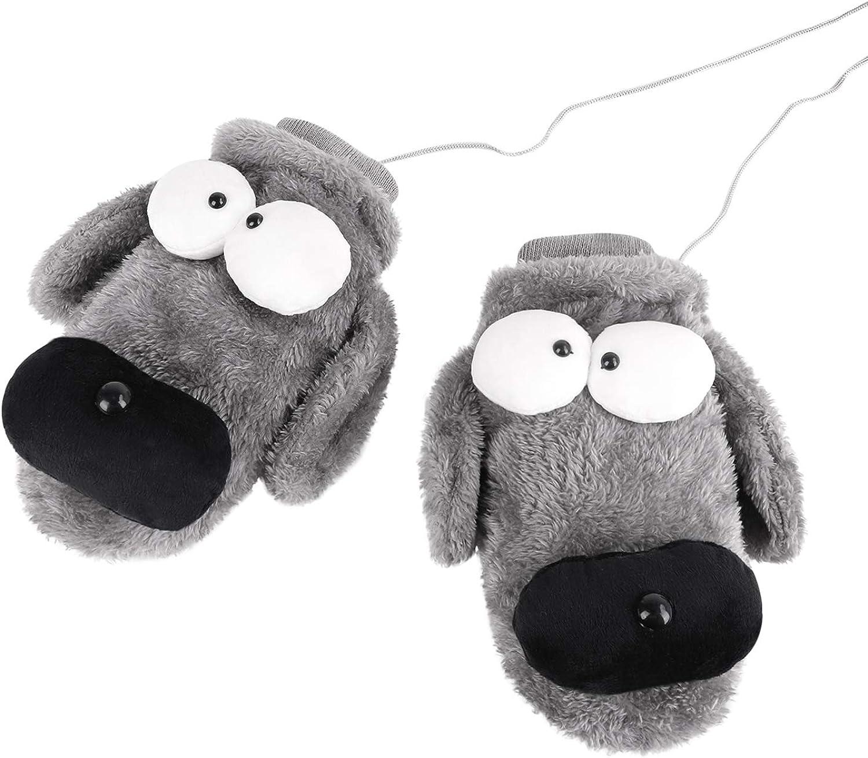 Women Girls Cartoon Gloves with String Winter Warm Mittens Cosplay Animal Plush Fleece Mittens Full Finger Thick Ski Gloves
