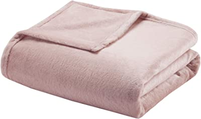 Madison Park Microlight Luxury Throw Blanket Premium Soft Cozy For Bed, Couch or Sofa, King, Blush