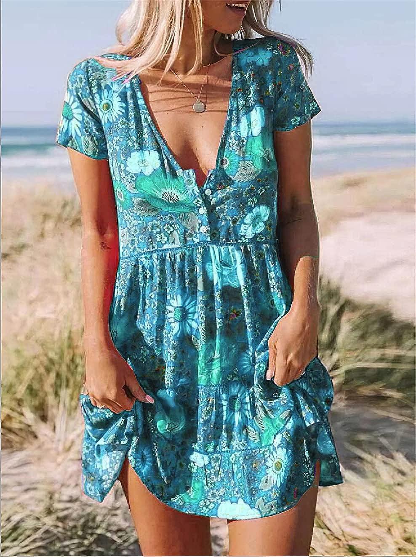 HYPOWELL Women's Summer Floral Printed Dress Bohemian V-Neck Mini Dress Casual Sundress
