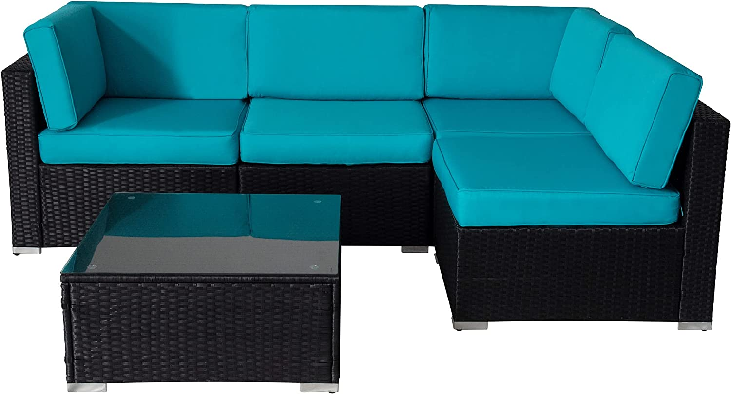 Fixed price for sale 5pcs Patio Conversation Set Outdoor Be super welcome Furniture Sets Wic Sectional