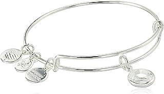 Alex and Ani Women's Swarovski Color Code Bangle April Clear Crystal Bracelet, Shiny Silver, Expandable