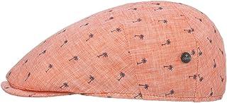 Lierys Coppola Hawaii Orange Uomo - Made in Italy Berretto Lino Cappello Piatto con Visiera, Fodera Primavera/Estate