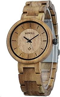 Reloj Mujer Madera Analógico Cuarzo Japonés con Correa de Madera W155A