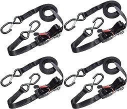 Master Lock 3056EURDAT Spanband met ratel en S-haken, Reflecterend en Zwart, 4,25 m x 25 mm Spanband, Verpakking van 4