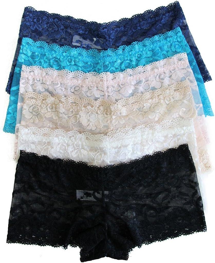JUSOE 6 Pack Womens Hipster Boyshort Lace Trim Underwear Panties Sheer Plus Size