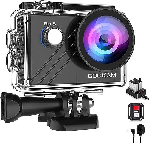 GOOKAM Action Cam 4K 20MP WiFi EIS Fotocamera Subacquea 40M Impermeabile Videocamera 170 Gradi Grandangolare con Micr...