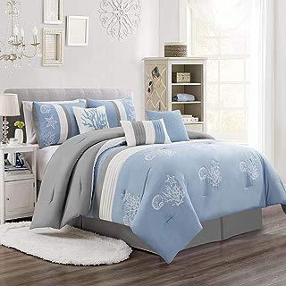 KingLinen 7 Piece Tora Blue/Gray/White Comforter Set Queen