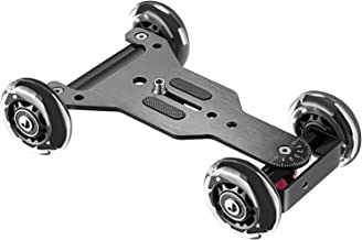 Neewer Noise-Free Camera Table Dolly Slider with 22 pounds/10 kilograms Load Capacity Skater Design Aluminum Board Rotatable TPU Wheels 1/4-inch Screw Threads for DSLRs Video Camcorders (Black)