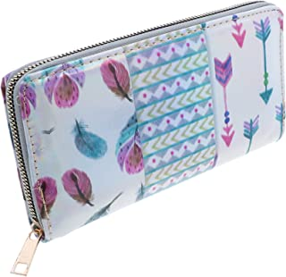 Glossy Zip Around Printed Wallet for Women (Feather)