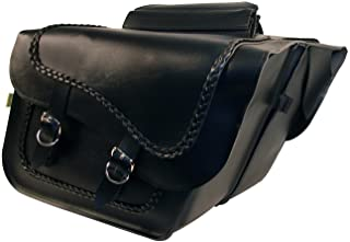 Dowco Willie & Max 58709-20 Braided Series: Synthetic Leather Large Slant Motorcycle Saddlebag Set, Black, Universal Fit, ...