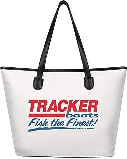 Custom Tote Bag for Womans Tracker-Boats-blue-red-logo- Canvas Washable & Eco-Friendly Shopping Handbag