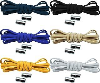 6 par sladdlösa skoband skosnören med snabbförslutning elastiska skosnören med metalllås No Tie Shoelaces gummi skoband me...