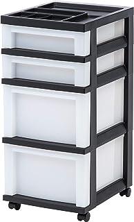IRIS USA, Inc. MC-322-TOP 4-Drawer Storage Rolling Cart with Organizer Top, Black/Pearl (Renewed)