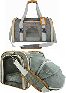 Mr. Peanut's Expandable Airline Approved Soft Sided Pet Carrier, Luxury Travel Tote with Premium Auto Self Locking Zippers, Plush Faux Fleece Bedding with Sturdy Plywood Base, 18LX10.5WX11 H