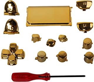 eJiasu Chrome Replacement Complete Full Button Set Trigger, Bumper, Dpad, Touch Pad for PS4 Playstation 4 Generation One Controller (One Set Golden)