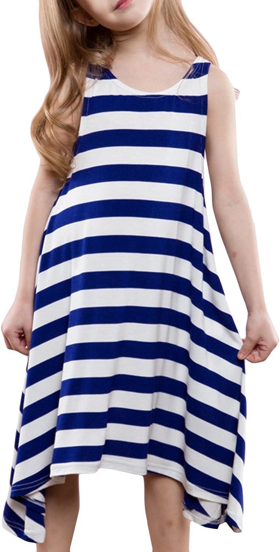 ASHER FASHION Toddler Girls Summer Sleeveless Cotton Dress Asymmetric Striped Boho Dress Girls Sundress