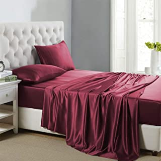 Lanest Housing Silk Satin Sheets, 3-Piece Twin Size Silk Bed Sheet Set with Deep Pockets, Cooling and Soft Hypoallergenic Silk Sheets Twin - Scarlet Red