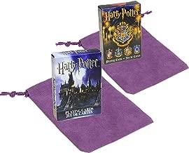 Harry Potter Symbols and House Crests Themed Playing Cards _ Bundle of Two Unique Decks _ Bonus Two Purple Velveteen Drawstring Storage Pouches _ Bundle