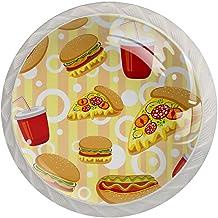Lade Handgrepen Kabinet Knoppen Rond Een Pack van 4 Lade Knoppen,Heldere Cartoon Textuur van Fast Food