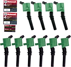 Ignition Coil DG508 and Spark Plug SP479 for Ford 4.6L 5.4L V8 DG457 DG472 DG491 CROWN VICTORIA EXPEDITION F-150 F-250 MUSTANG LINCOLN MERCURY EXPLORER 3W7Z-12029-AA (Set of 10 GREEN)