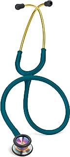 3M Littmann Classic II Pediatric Stethoscope, Rainbow-Finish Chestpiece, Caribbean Blue Tube, 28 inch, 2153