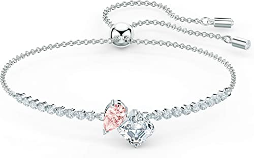 SWAROVSKI Women's Attract Soul Jewelry Collection, Rhodium Finish, Pink Crystals, Clear Crystals
