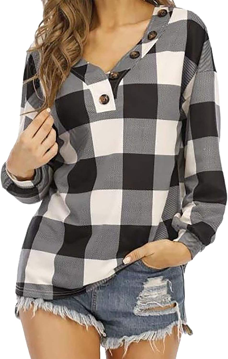 ONTBYB Women Plaid Shirts Casual V-Neck Long Sleeve Slouchy Loose Blouses Plain Faux Button Lightweight Pullover