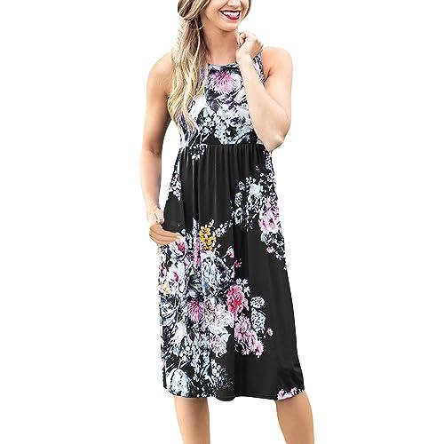 a23d718c603 Yidarton Women Floral Dress Summer Casual Sleeveless Sundress Round Neck  High Waist Beach Midi Dress