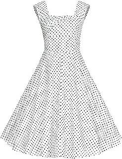 Damen /Ärmellos Retro Kleid Petticoat Faltenrock Hochzeit Party Abendkleider Knielang S-4XL Yotown Damen Vintage 50er Rockabilly Swing Kleider Rockabilly Vintage Style Dress