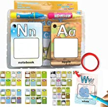 MOBU Reusable Letters Words Cards - Water Painting Graffiti Book Card 26 Letters & 2 Magic Drawing Pens Early Education Cognitive Alphabet Flash Cards for Toddlers Kids Baby