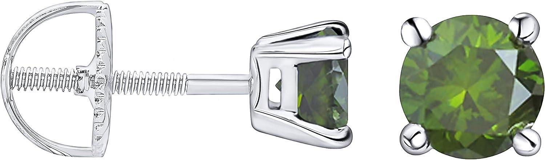 Prism Jewel 0.25Ct Green Spasm price Diamond Screw Earri Back Popular popular Set Prong Stud