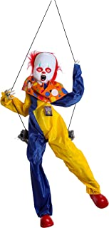 Halloween Haunters 3 Foot Animated Hanging Swinging Talking Circus Clown Ghost Zombie Prop Decoration with Moving Kicking Legs - LED Eyes Flash, Speaks Scary Poem, Haunted House Entryway Party Display